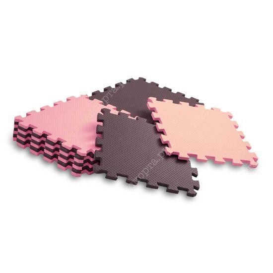 Мягкий пол, 25*25(см), толщина 1см, розово-коричневый