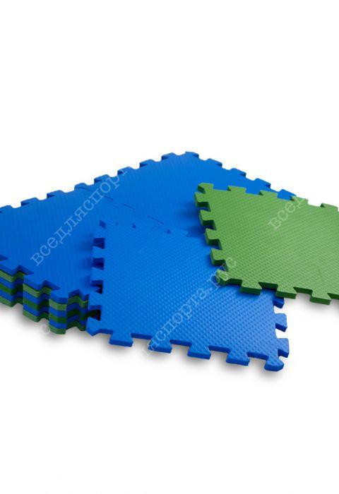Мягкий пол универсальный, 25*25(см), толщина 1см, сине-зеленый