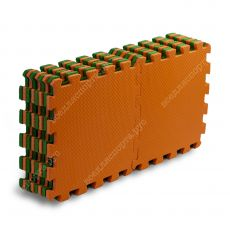 Мягкий пол универсальный, 25*25(см), толщина 1см, оранжево-зеленый