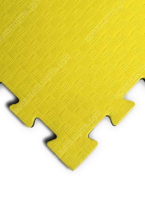 """Будо-маты EVA «Ласточкин хвост» 2,5см WTF """"ПРОФИ"""" черно-желтый"""
