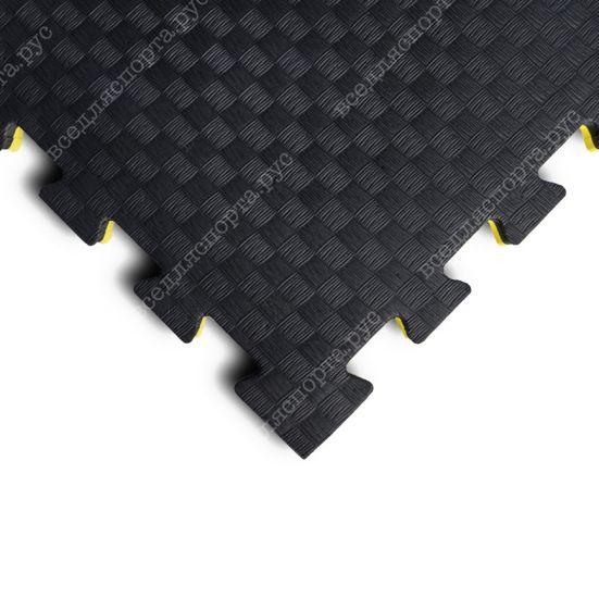 """Будо-маты EVA «Ласточкин хвост» 2,5см WTF """"Сорт2"""" черно-желтый"""