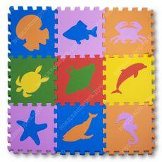 """Мягкий пол универсальный, """"Морские Животные"""" 33*33(см), толщина 1см"""