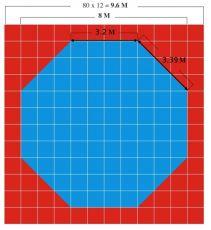 Додянг «Ласточкин хвост» 2.5см по стандарту WTF 0.8м х 0.8м