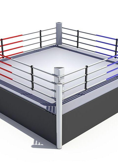 Ринг боксерский на помосте 1 м, боевая зона 6 х 6